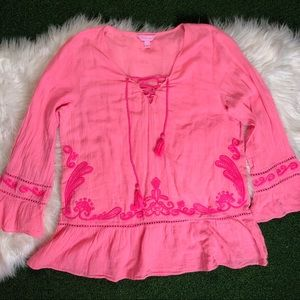 Lilly Pulitzer Tunic cover up Pink Embroidered